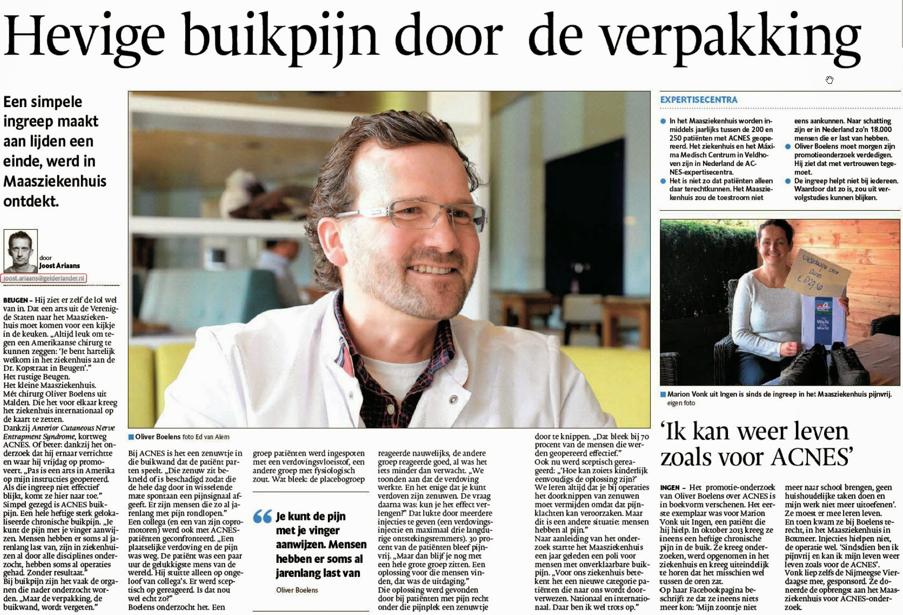 Interview in De Gelderlander met Olivier Boelens